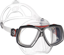Aqua Lung Look 2 Clear Silicone Black w/ Red
