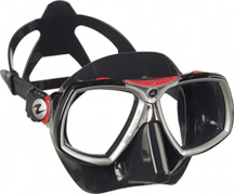 Aqua Lung Look 2 Black Silicone Black w/ Red
